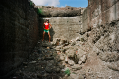 film photograph portrait young woman girl cosplay joliet iron works rubble stone robin costume