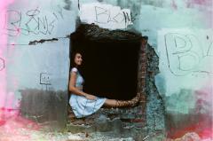 film photograph portrait young woman girl cosplay  joliet iron works graffiti urbex ruinporn companion cube gladiator sandals cute