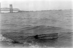 black white film photography beach waves shore cabinet  bridge jamaica bay nyc