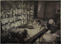 drawing art paper pencil graphite ink watercolor wash monochrome warm tone chiaroscuro portrait young man dog bed bedroom still life toys shadow light hapa