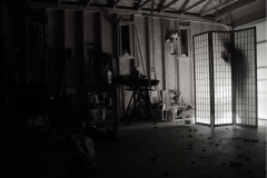 digital photograph garage screen paper folding japanese shoji traditional wood creepy shadow silhouette ghosts hand figure black and white