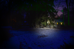 photograph yard day night illusion house snow winter magritte sky colorful trippy