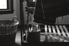 abandoned urbex film photography dusty loom blanket weaving