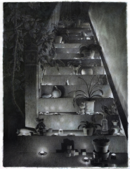 large scale drawing multimedia charcoal watercolor frisket color pencil staircase perspective chiaroscuro candles tealights glow plants potted tree
