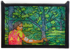 acrylic painting window frame woods forest young man boy bike smoking cigarette