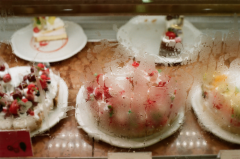 film photograph glass window counter cakes bakery strawberry chocolate cream condensation vapor