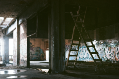 film photograph urbex ladders abandoned graffiti ruinporn