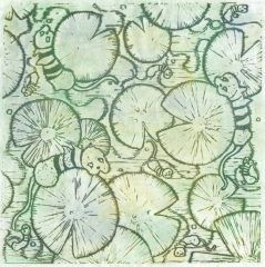 printmaking linocut relief print a la poupee shimmer dusting multicolor trippy cats lily pads psychedelic