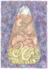 drawing multimedia graphite watercolor psychedelic art candy corn pointillism creepy organs intestines heart veins