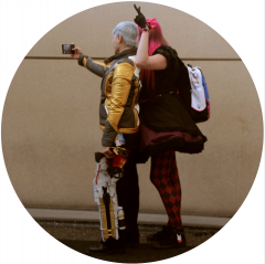 digital photograph portrait cosplay convention c2e2 chicago schoolgirl selfie