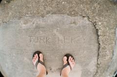 turk hickey sidewalk graffiti carving sandal feet funny