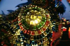 shiny glass mosaic decorative lit lantern fisheye lens