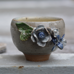 Floral Tea Bowl ceramics pottery handthrown wheel celadon glaze stoneware flowers floral