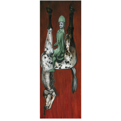 oil painting red flames background hell hellish diabolical evil creepy surreal strange bizarre funny upside down horse hanging tongue out seated man knight helmet armor verdigris green sly