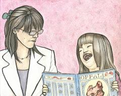 "Watercolour, coloured pencil, and ink drawing of a mother looking in puzzlement/consternation at a laughing girl holding a picture book entitled ""Offal"" strange weird bizarre whimsical surreal consternated consternation hilarious white suit"