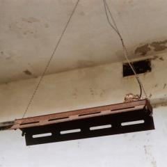 abandoned post office gary hanging light fixture robin nest nestlings chicks babies resting funny strange surreal