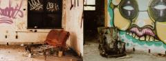 film photograph abandoned post office gary red diptych orange upholstered chaise lounge chair graffiti creepy dirty weird colorful green  monster eyes teeth