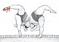 ink drawing of two sumo wrestlers, one with a red ballet slipper on ties ribbons lace satin line outline faceless black white grey gray texture graceful surreal midleap freezeframe twist arabesque ballet wrestling ring sand flying floating midair whimsical bizarre strange weird