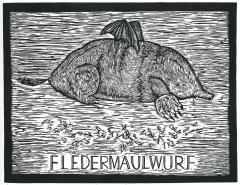 black white retro vintage style print relief linoleum woodcut etching engraving mole bat wings pun wortspiel lustig imaginary creature maulwurf fledermaus süss