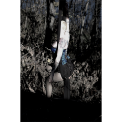 photograph of a girl seated in aerial silks tissu against a forest background blue corset silk tattoos blonde circus