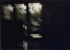 film photograph of dining room window panes multi exposure overlapping light and dark chiaroscuro effect daylight