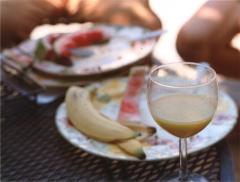 film photograph soft boke fruit peels watermelon banana plates orange juice glass