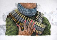 crayon drawing of a person in military garb with a hot pink manicure muffled scarf nose covering bullets belt ammunition surreal neon posing strange weird bizarre war