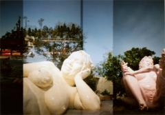 film photograph double exposure loveland jeju island korea statue woman naked