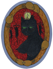 Oval oil painting of a black female lady cat kitten against a red background with silhouettes of mice in traps in the background large bust chest breasted breast gems jewels feathers diamond glinting shimmering strange weird whimsical bizarre surreal red velvet texture crinkled antique vintage gold frame braided wreath busty bosom green glowing eyes beauty mark feline sexy strange