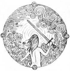 black and white illustration sword woman four elements water fire earth air
