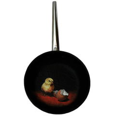 oil painting on frying pan baby bird yellow chick hatchling eggshells broken funny black humour red background chiaroscuro