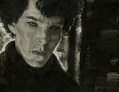 sherlock holmes benedict cumberbatch fan art sepia black and white blue eyes oil painting portrait moody