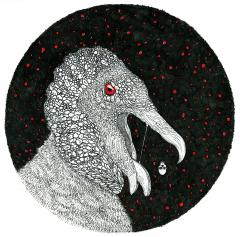 black white ink drawing illustration vulture mouth open skull red eye crosshatching ink